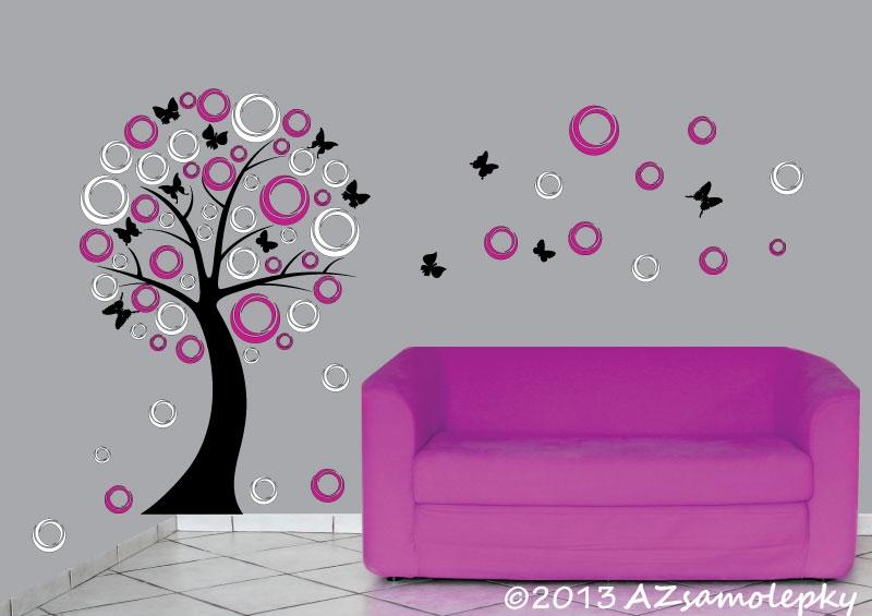 STROMY - samolepky na zeď - Samolepky na zeď - DUO strom - moderní bublinky