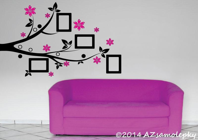 STROMY - samolepky na zeď - Samolepky na zeď - Květinová větvička s FOTOrámečky