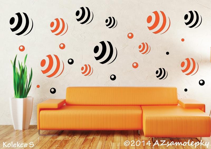 MODERNÍ samolepky na zeď - Samolepky na zeď - Pruhované DUO bubliny