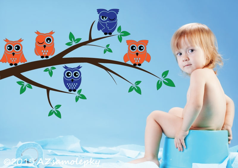 DĚTSKÉ samolepky na zeď - Dětské samolepky na zeď - Sovy na větvi