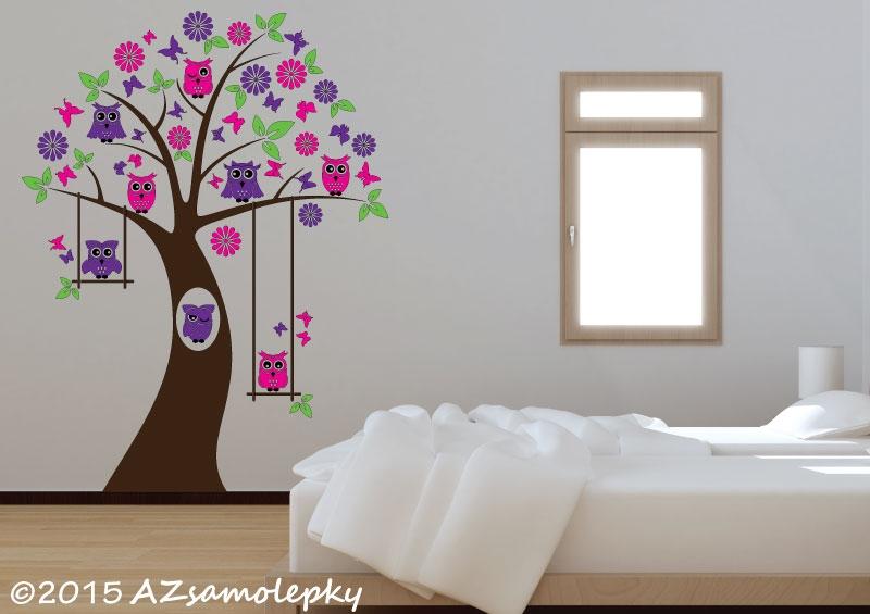 DĚTSKÉ samolepky na zeď - Dětské samolepky na zeď - Soví strom s houpačkou