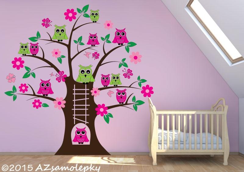 DĚTSKÉ samolepky na zeď - Dětské samolepky na zeď - Soví strom