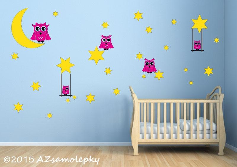 DĚTSKÉ samolepky na zeď - Dětské samolepky na zeď - Noční obloha se sovami