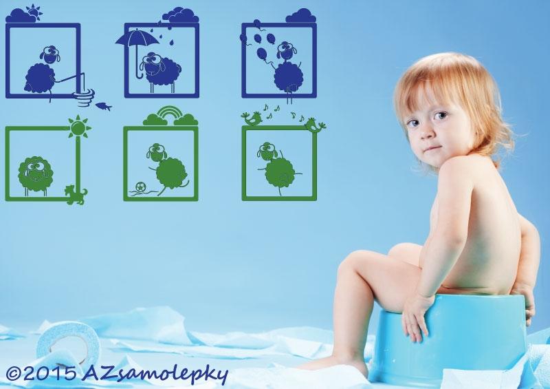 DĚTSKÉ samolepky na zeď - Dětské samolepky na zeď - Veselé obrázky - Ovečky