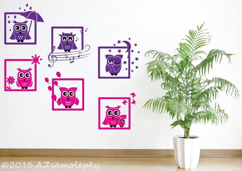 DĚTSKÉ samolepky na zeď - Dětské samolepky na zeď - Veselé obrázky - Sovy