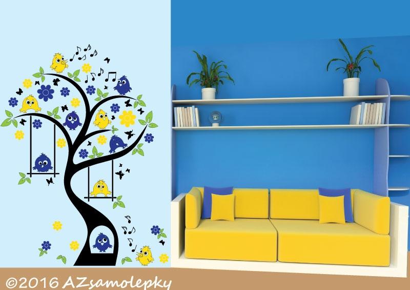DĚTSKÉ samolepky na zeď - Dětské samolepky na zeď - Ptačí strom