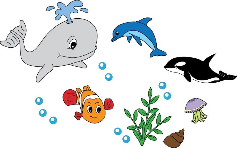 DĚTSKÉ samolepky na zeď - Dětské samolepky na zeď - Mořský svět - Kolekce S