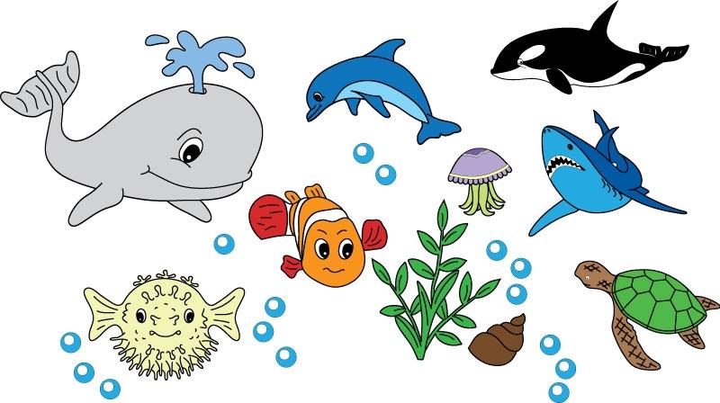 DĚTSKÉ samolepky na zeď - Dětské samolepky na zeď - Mořský svět - Kolekce M