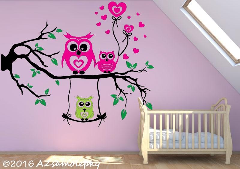 DĚTSKÉ samolepky na zeď - Dětské samolepky na zeď - Soví větev se srdíčky