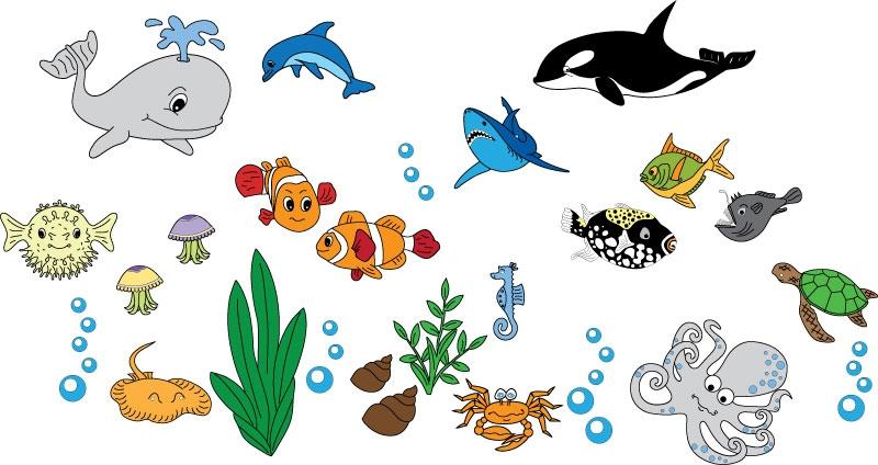 DĚTSKÉ samolepky na zeď - Dětské samolepky na zeď - Mořský svět - Kolekce XL
