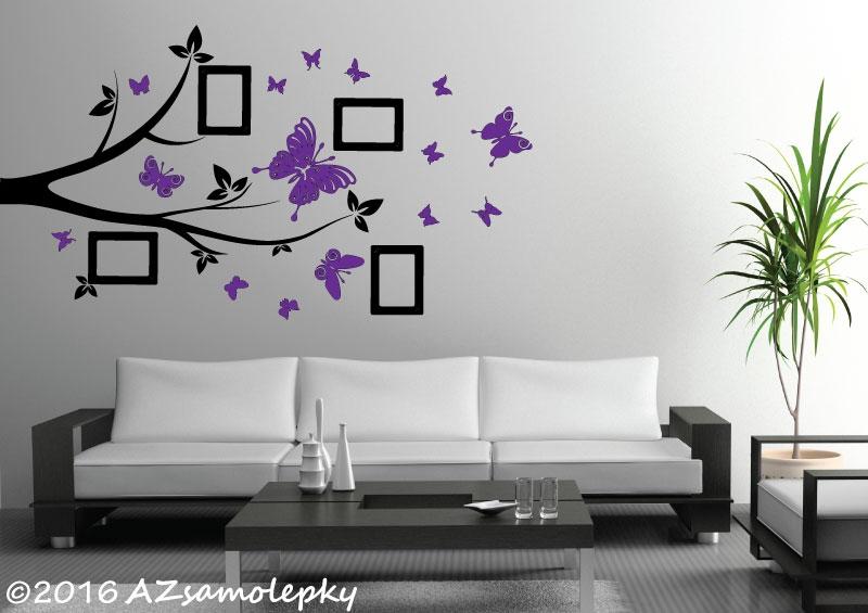 STROMY - samolepky na zeď - Samolepky na zeď - FOTO větvička s motýlky