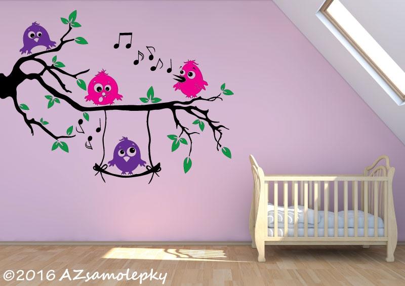 DĚTSKÉ samolepky na zeď - Dětské samolepky na zeď - Větev s veselými ptáčky