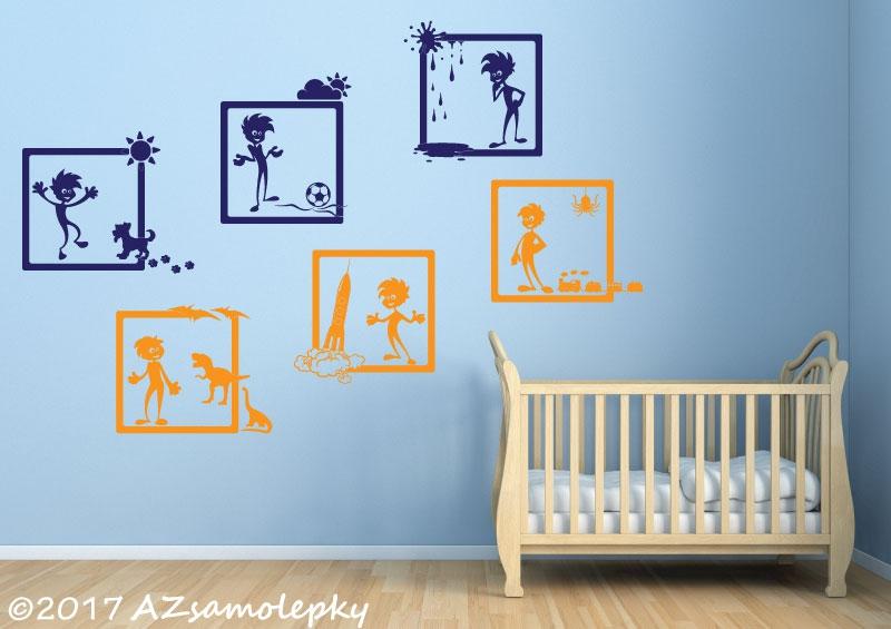 DĚTSKÉ samolepky na zeď - Dětské samolepky na zeď - Veselé obrázky - Nezbedové