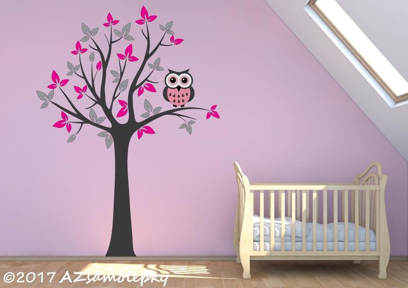DĚTSKÉ samolepky na zeď - Dětské samolepky na zeď - Strom UNO se sovou