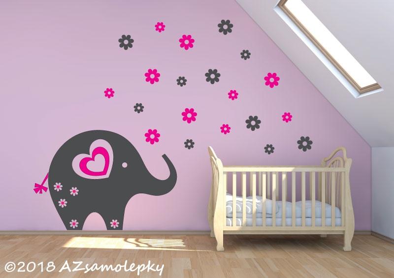 DĚTSKÉ samolepky na zeď - Dětské samolepky na zeď - Květinový sloník