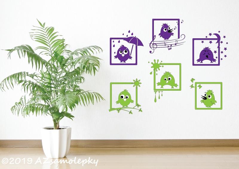 DĚTSKÉ samolepky na zeď - Dětské samolepky na zeď - Veselé obrázky - Ptáčci