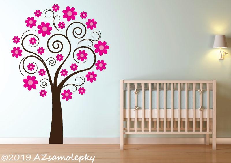 DĚTSKÉ samolepky na zeď - Dětské samolepky na zeď - Strom plný kytiček