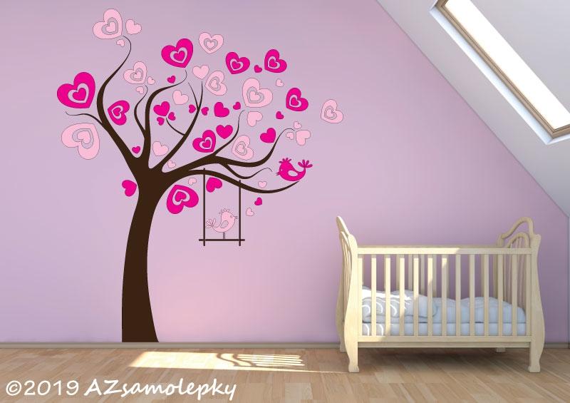 DĚTSKÉ samolepky na zeď - Dětské samolepky na zeď - Srdíčkový strom