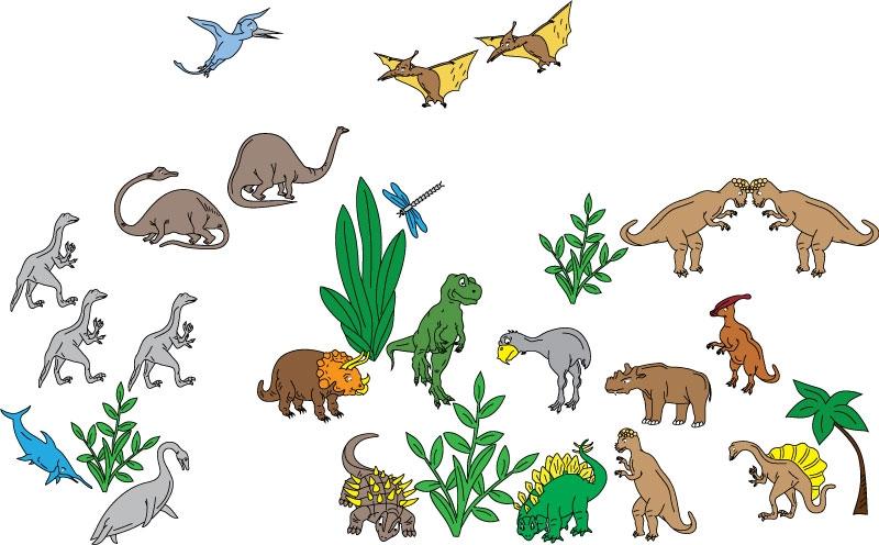 DĚTSKÉ samolepky na zeď - Dinosauři - kolekce XXL