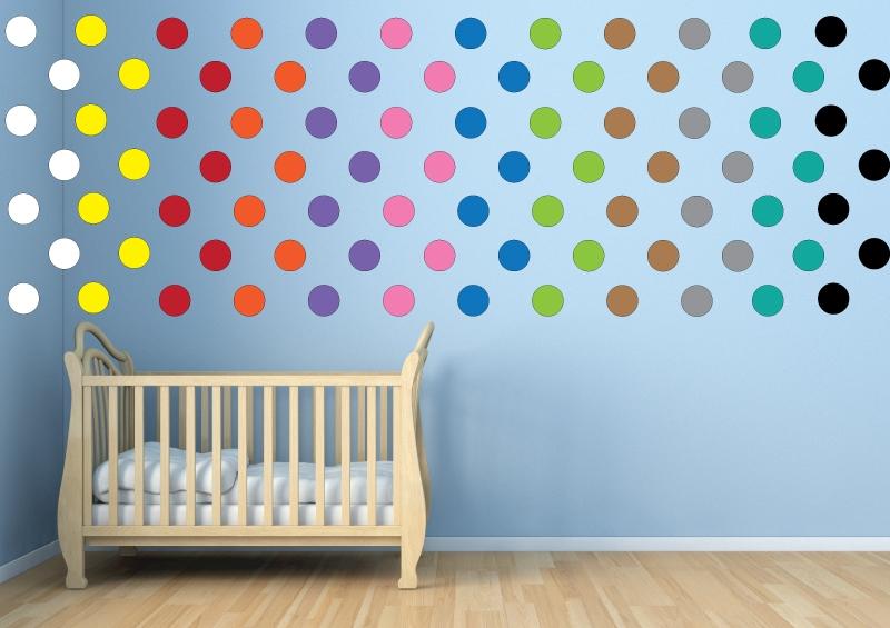 DĚTSKÉ samolepky na zeď - Dětské samolepky na zeď - Maxi - puntíky