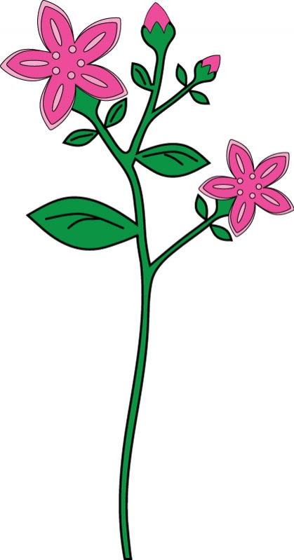 DĚTSKÉ samolepky na zeď - Tmavě růžová kytka