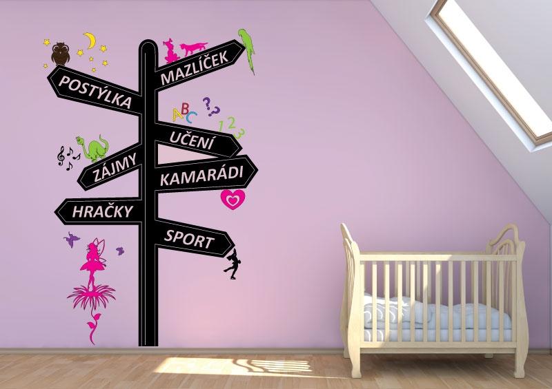DĚTSKÉ samolepky na zeď - Dětské samolepky na zeď - Rozcestník pro holky