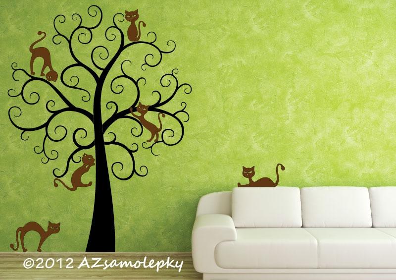 STROMY - samolepky na zeď - Samolepky na zeď - Kočičí strom