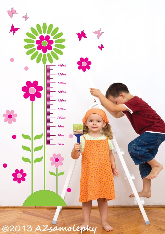 DĚTSKÉ samolepky na zeď - Samolepky na zeď - Dětský metr - Kytičky