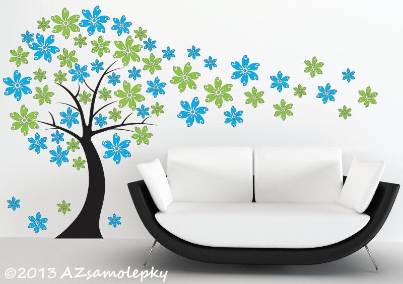 STROMY - samolepky na zeď - Samolepky na zeď - Květinový DUO strom
