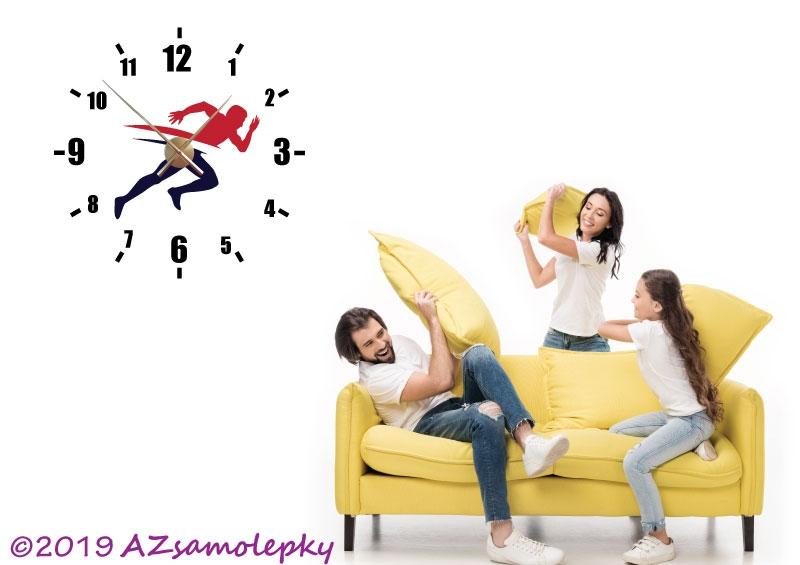 Nalepovací HODINY nástěnné - Samolepicí hodiny na zeď - Běžec
