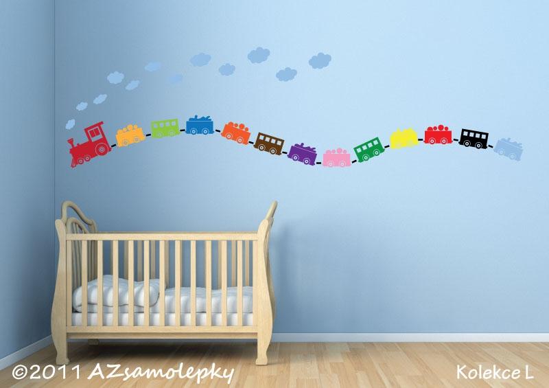 DĚTSKÉ samolepky na zeď - Dětské samolepky na zeď - Barevný vláček