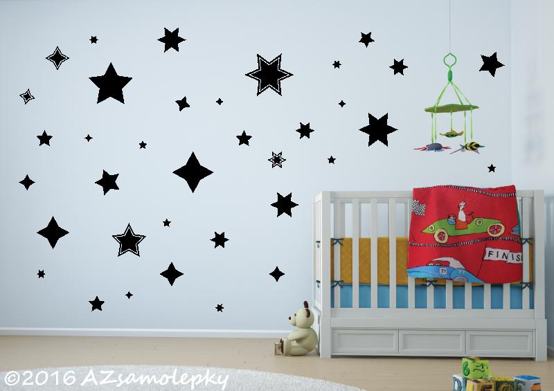 DĚTSKÉ samolepky na zeď - Dětské samolepky na zeď - Hvězdy a hvězdičky