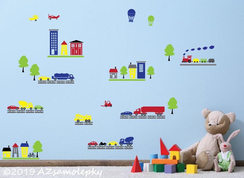 DĚTSKÉ samolepky na zeď - Dětské samolepky na zeď - Městečko