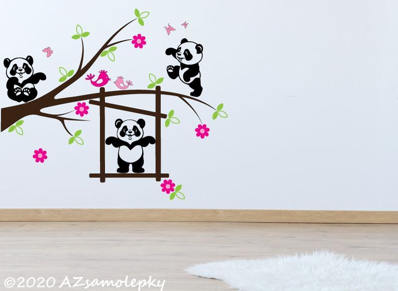 DĚTSKÉ samolepky na zeď - Dětské samolepky na zeď - Pandy na větvi