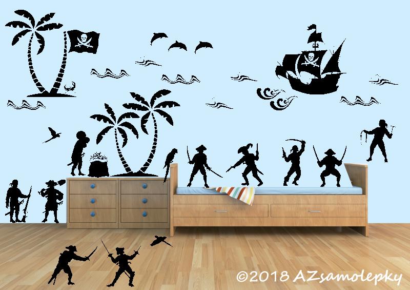 DĚTSKÉ samolepky na zeď - Dětské samolepky na zeď - Piráti