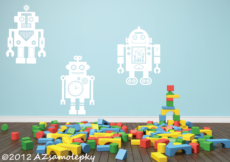 DĚTSKÉ samolepky na zeď - Dětské samolepky na zeď - Roboti