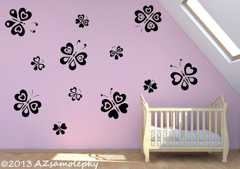DĚTSKÉ samolepky na zeď - Dětské samolepky na zeď - Srdíčkoví motýlci