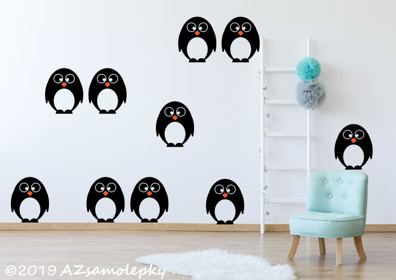 DĚTSKÉ samolepky na zeď - Dětské samolepky na zeď - Tučňáci