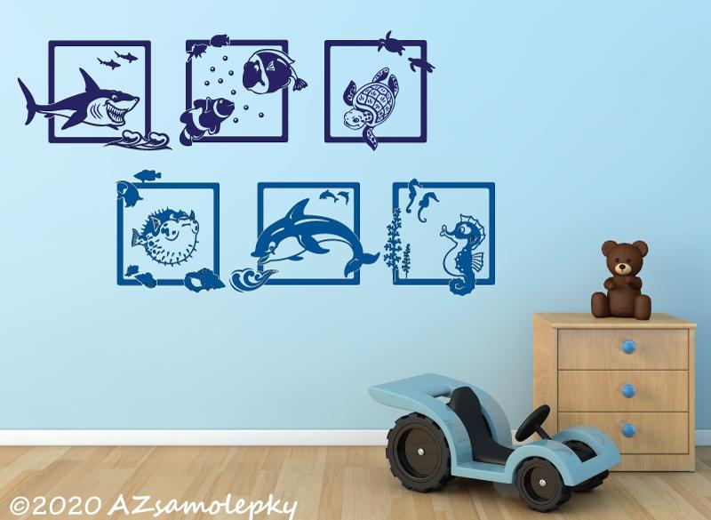 DĚTSKÉ samolepky na zeď - Dětské samolepky na zeď - Veselé obrázky - Mořský svět