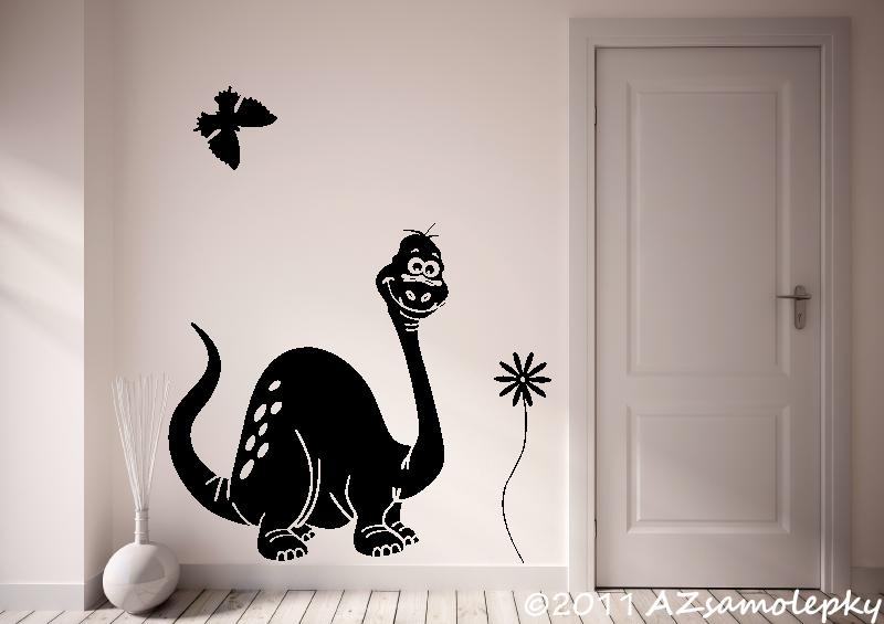 DĚTSKÉ samolepky na zeď - Dětské samolepky na zeď - Veselý brontosaurus