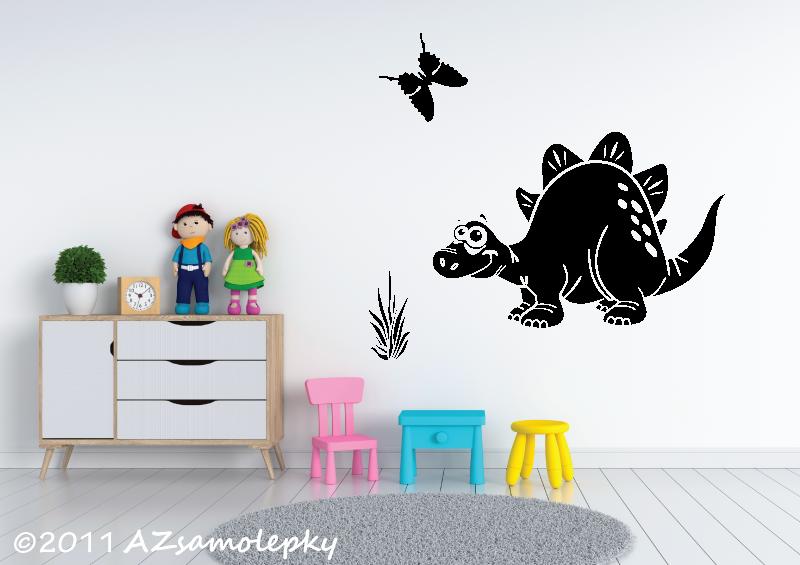 DĚTSKÉ samolepky na zeď - Dětské samolepky na zeď - Veselý stegosaurus
