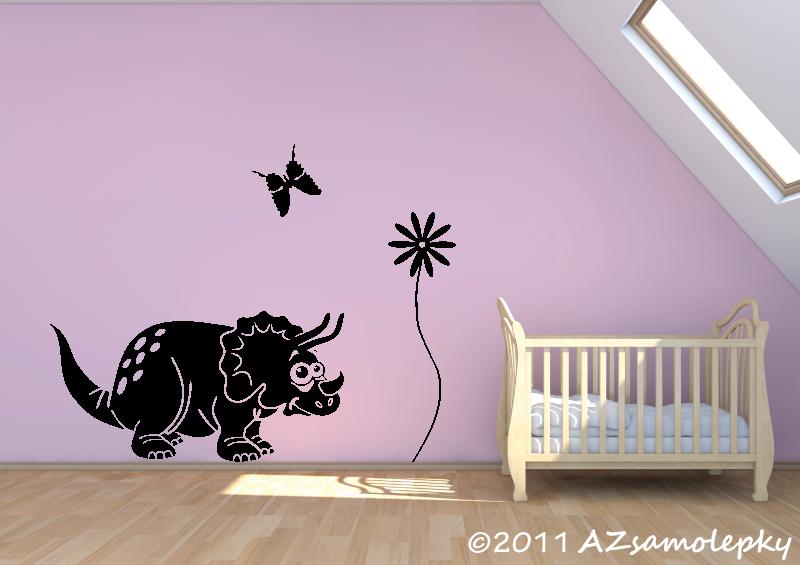DĚTSKÉ samolepky na zeď - Dětské samolepky na zeď - Veselý triceratops