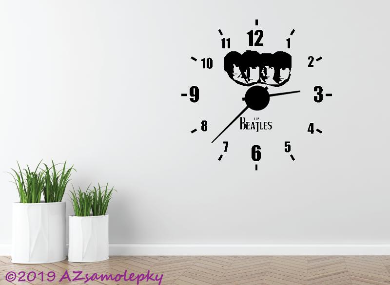Nalepovací HODINY nástěnné - Samolepicí hodiny na zeď - Beatles