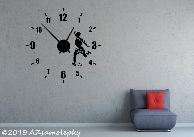 Nalepovací HODINY nástěnné - Samolepicí hodiny na zeď - Fotbalista