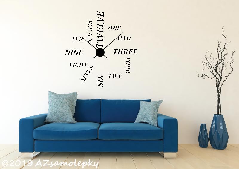 Nalepovací HODINY nástěnné - Samolepicí hodiny na zeď I.
