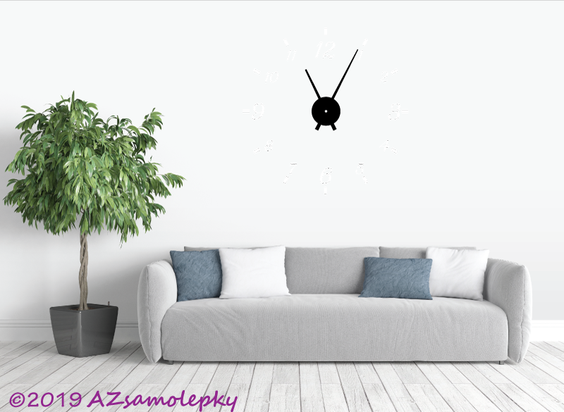 Nalepovací HODINY nástěnné - Samolepicí hodiny na zeď - Klasik