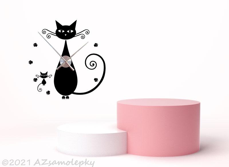Nalepovací HODINY nástěnné - Samolepicí hodiny na zeď - Kočky