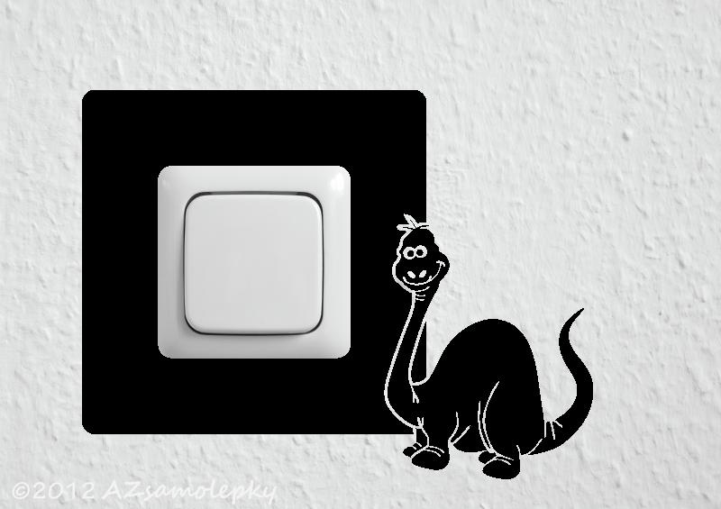 Samolepky pod VYPÍNAČ - Samolepky pod vypínač - Veselý dinosaurus