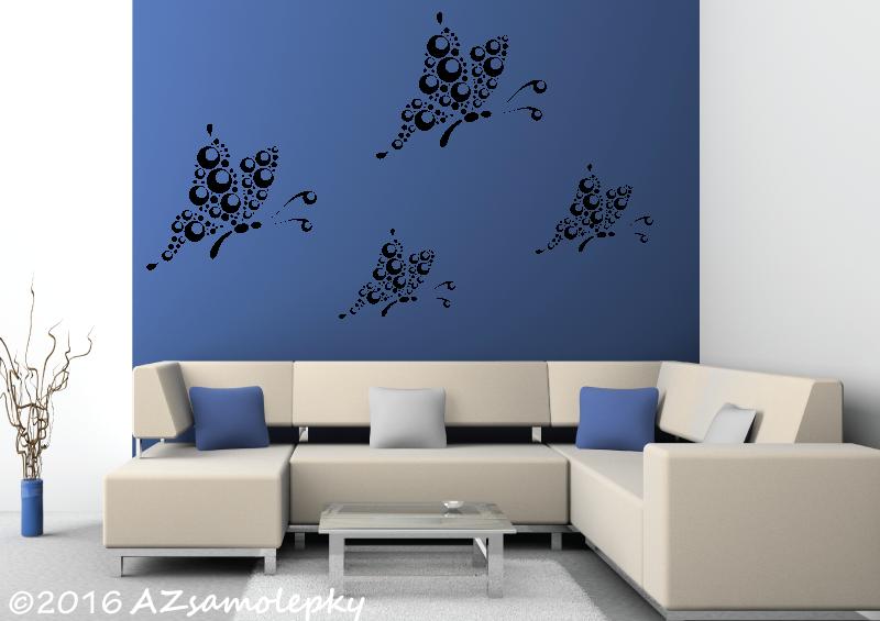 ZVÍŘATA - samolepky na zeď - Samolepky na zeď - Bublinkoví motýlci