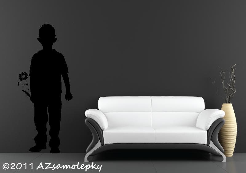 POSTAVY a OSOBNOSTI - Samolepky na zeď - Chlapec s květinou